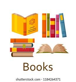 Books set isolated on the white background