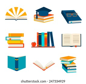 Books set isolated on white background, vector illustration