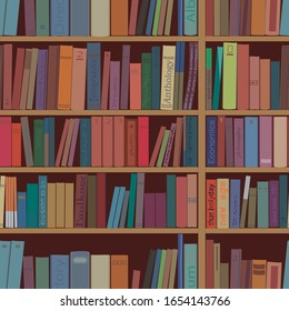 Books shelves (bookcase) seamless pattern. Vector graphics.