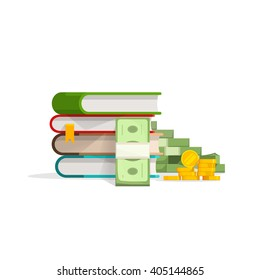 Books stack with pile of cash and coins vector illustration, concept of learning success, education expenses, investment, savings flat design isolated on white background