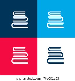 Books stack from top view four color material and minimal icon logo set in red and blue