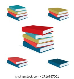 Books stack vector illustration set. Pile of books. Hardback books composition. Part of set.