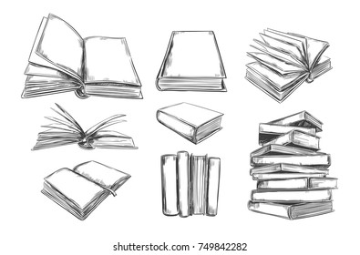 Books vector collection. Pile of books. Hand drawn illustration in sketch style. Library, Books shop