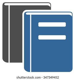 Books vector icon. Style is bicolor flat symbol, cobalt and gray colors, rounded angles, white background.