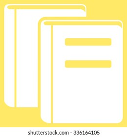 Books vector icon. Style is flat symbol, white color, rounded angles, yellow background.