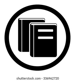 Books vector icon. Style is flat rounded symbol, black color, rounded angles, white background.