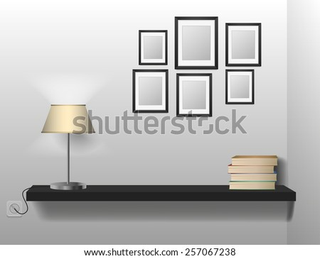 A Bookshelf Of Books Between Bookends With Table Lamp Space For Your Text