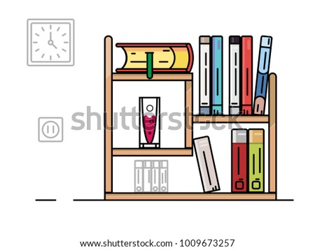 Bookshelf With Color Books Illustration In Flat Style
