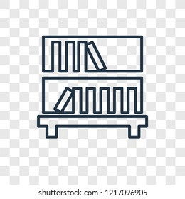 Bookshelf concept vector linear icon isolated on transparent background, Bookshelf concept transparency concept in outline style