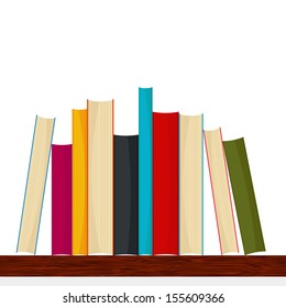Bookshelf with different sizes and colors books - vector illustration