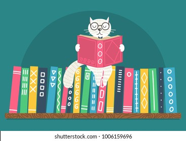 Bookshelf with fantasy clever white cat reading book on teal background.  Vector illustration.