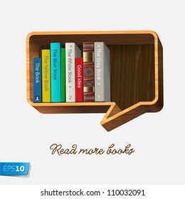 Bookshelf in the form of speech bubble isolated on white background, vector Eps10 illustration.