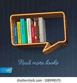 Bookshelf in the form of speech bubble, vector Eps10 illustration.