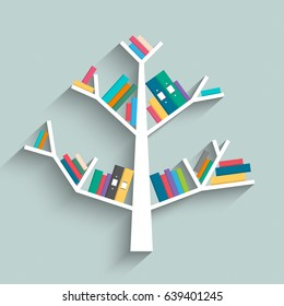 Bookshelf in form of tree with colorful books on blue pastel color background. Flat design. Vector illustration.