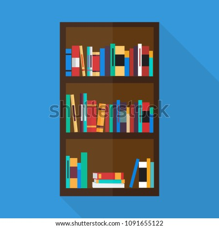Bookshelf Icon In Flat Style With Long Shadow Isolated Vector Illustration On Blue Transparent Background