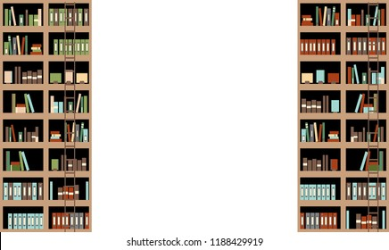 Bookshelf Illustration With Copy Space