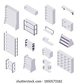 Bookshelf isometric - collection of various cases and shelves for books for home and store interior design. Empty gray wooden furniture for home and shop storage in vector illustration.