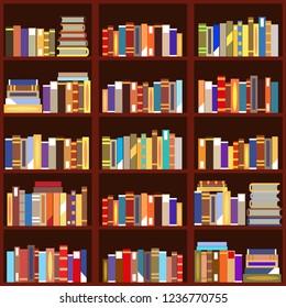 Bookshelf seamless pattern flat vintage design vector illustration