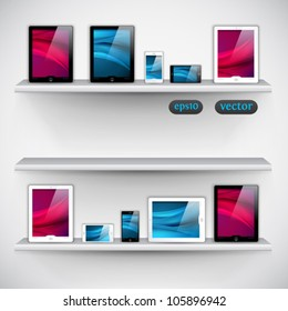 bookshelf, tablet computers and mobile phone icons - vector