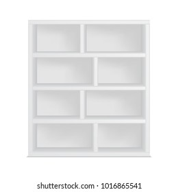 Bookshelf template, isolated on white