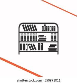 Bookshelf vector grey icon on white background. Bookshelf symbol stock   illustration. Business picture.