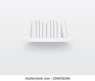 Bookshelf with white blank books. Realistic  illustration