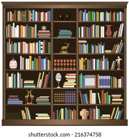 Bookshelf.Vector background.