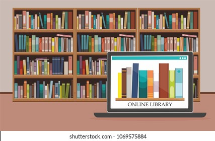 Bookshelve with books on computer screen at bookshelf background, Online Library education concept