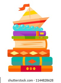 Bookshelves with books in room interior. Home library with literature, fairy tales school textbook education training vector illustration