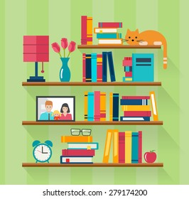 Bookshelves with books in room interior. Home library with literature, vector illustration
