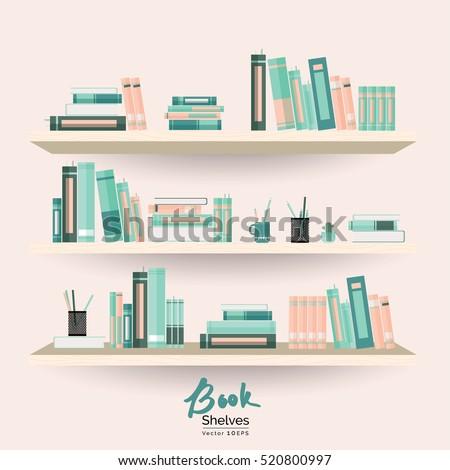 bookshelves books stationery on pastel pink stock vector royalty rh shutterstock com