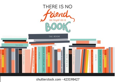 Bookshelves with books. Vector background