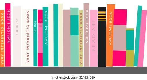 Bookshelves with books. Vector illustration