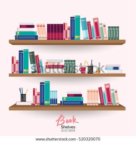 bookshelves colorful books stationery on pastel stock vector rh shutterstock com