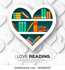 Bookshelves in the form of heart with colorful books. Reading. I love books.  Home library with literature, vector illustration