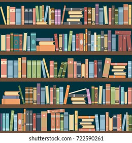 Bookshelves Full Of Books Both In The Library Vector Illustration