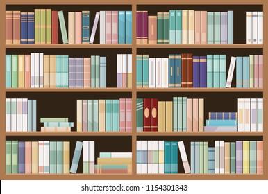 Bookshelves full of books. Education library and bookstore concept.  Vector illustration.