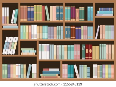 Bookshelves full of books. Education library and bookstore concept.  Vector illustration.