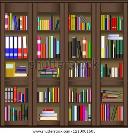 Bookshelves Full Books Education Library Bookstore Stock Vector