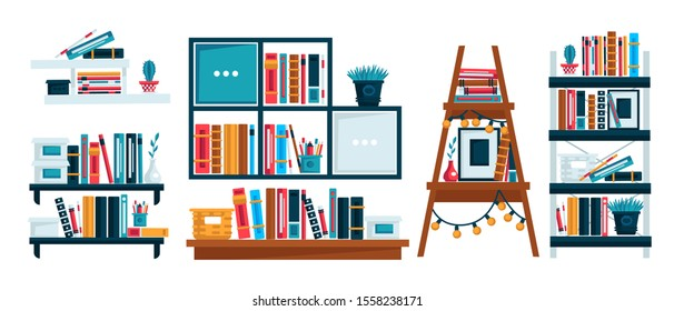 Bookshelves for study room or home library, office shelf, isolated icons vector. Reading book, school bookcase and store bookshelf, literature and education. Textbook and novel volumes, house decor