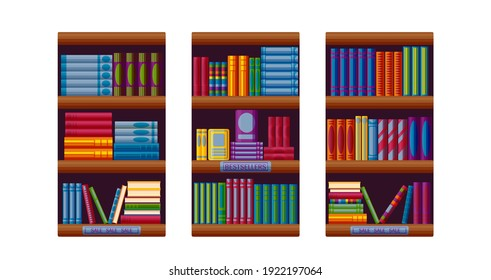 Bookshop racks with bestsellers and sale options. Set for bookstore shelves in cartoon style. Vector illustration on white background