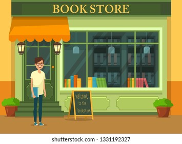 Bookshop showcase with literature and young buyer
