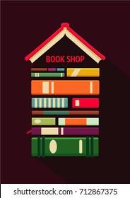 Bookshop sign. Books store poster. Flat style, logo mockup.