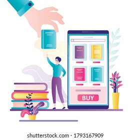 Bookstore application on smartphone screen. Woman client purchase book online. Big hand give book to female customer. Technology of internet shopping. Banner in trendy style. Flat vector illustration