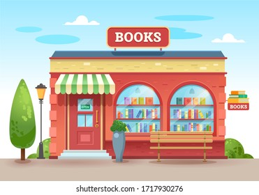 Bookstore with an awning above the entrance. Books in a shop window on shelves. Street shop. Vector illustration, flat style