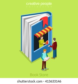 Bookstore book shape building shop realty real estate concept. Flat 3d isometry isometric style web site app icon set concept vector illustration. Creative people collection.
