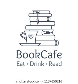 Bookstore and cafe visual identity. Logo element, flat line style. Eat, drink and read place business concept. Pile of books, coffee mug and heart symbol composition. Vector illustration.