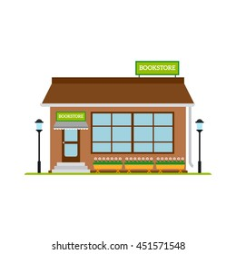 Bookstore flat style icon isolated on white. Vector illustration