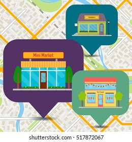 Bookstore, ice cream shop and mini market icons on city map. Building facades and store fronts set. EPS10 vector illustration in flat style.