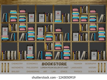 Bookstore interior design Vector. Books on the shelves illustration decor. detailed illustrations
